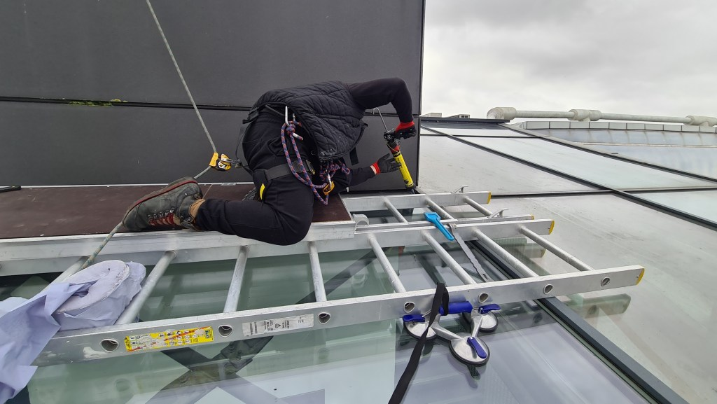 high level glazing maintenance