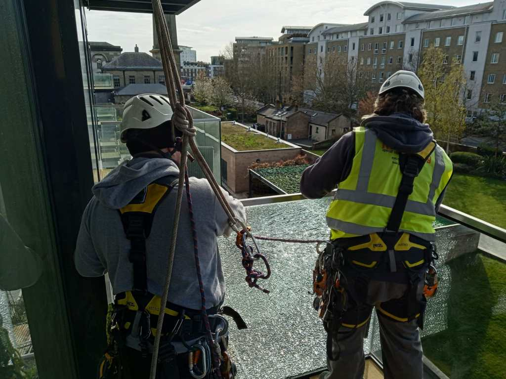 high level balustrade glazing