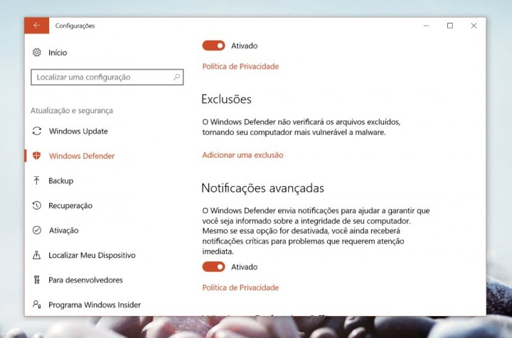 Windows Defender exclusões