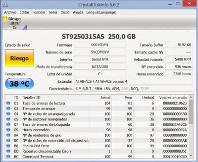 Crystal disk info. Comprueba tu disco duro