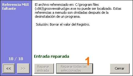 Reparar registro de Windows con CCleaner entradas reparadas Reparar registro de Windows con CCleaner