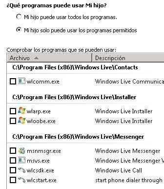 Bloqueado programas con el Control Parental Bloquear programas para los niños en Windows 7 (Control Parental)