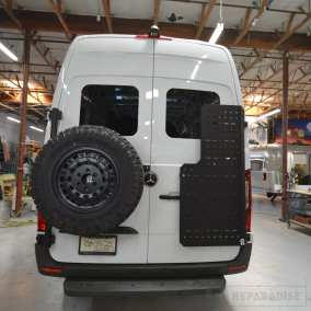 Overside Sprinter Spare tire and Owl Van Sherpa