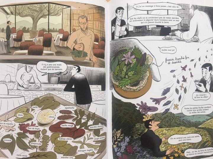 Guillaume à la découverte des produits du terroir d'Annecy auprès du chef Laurent Petit. Sacrés Chefs, page 130-131