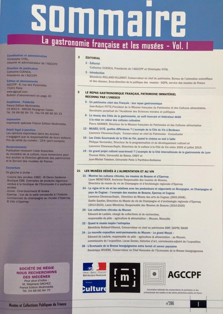 Sommaire La gastronomie française et les musées - Volume 1