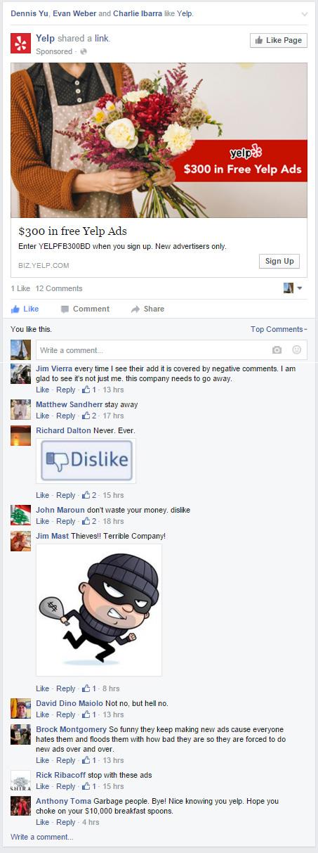 yelp FB ad dislikes