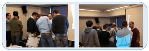 Group study and discussion at a training course of RephiLe Genie water purification systems in Madrid