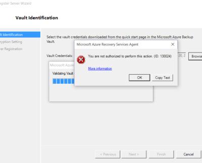 Azure Backup error 130024