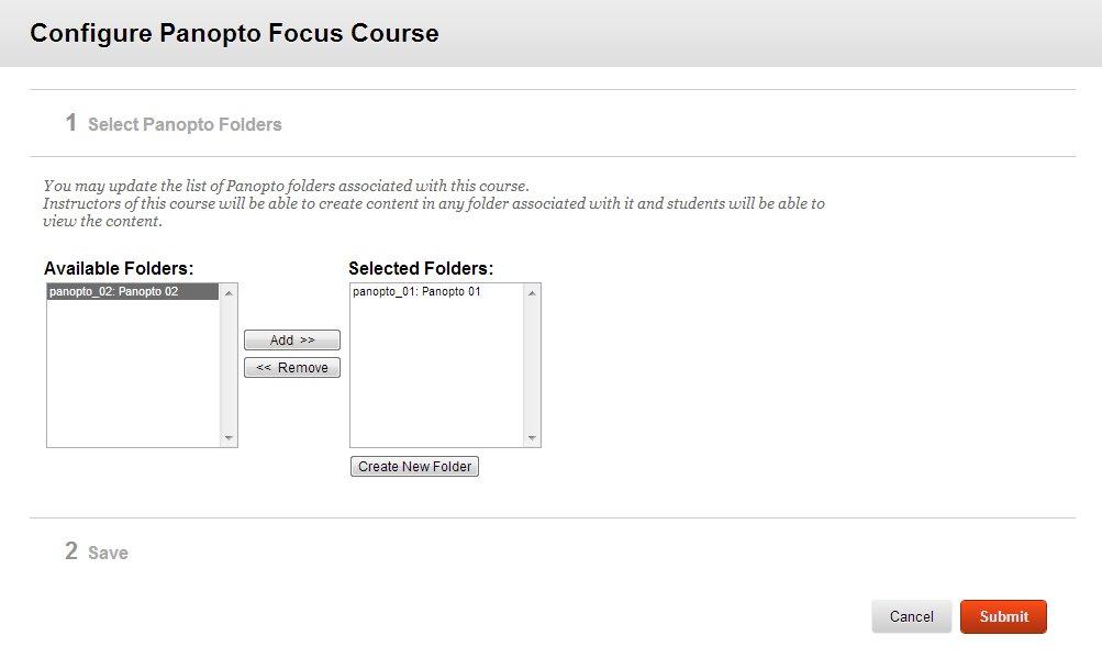 Configure Panopto Focus Course
