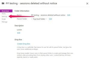 Folder settings tab