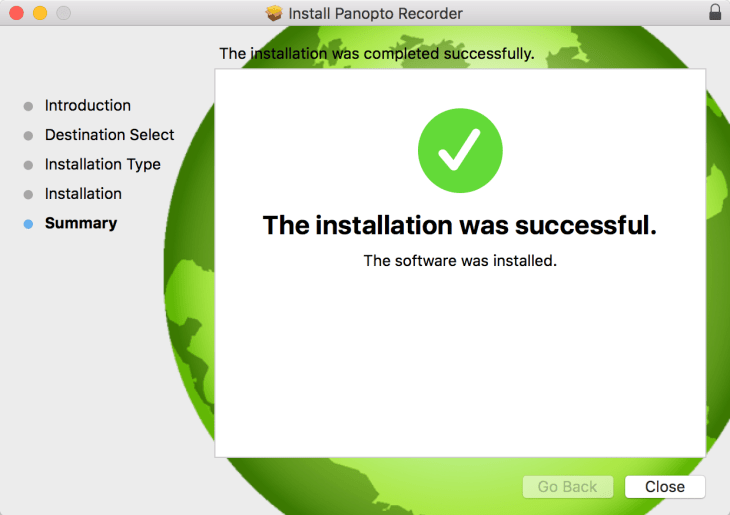 Panopto OS X Install Successful