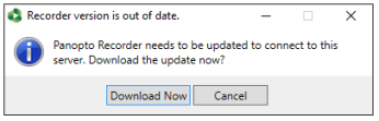 Upgrade prompt for Panopto on Windows