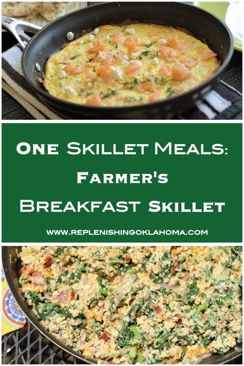 Easily incorporate fresh garden or farm vegetables with this farmer's breakfast skillet. This one skillet dish is easy to make and clean up.