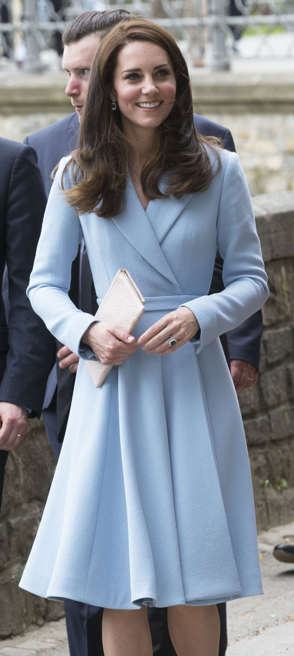 Image licensed to i-Images Picture Agency. 11/05/2017. Luxembourg , United Kingdom. The Duchess of Cambridge and Crown Princess Stephanie of Luxembourg on a walkabout  along the corniche outside the city museum in Luxembourg during engagements for the official commemoration of the 1867 Treaty of London.  Picture by Stephen Lock / i-Images