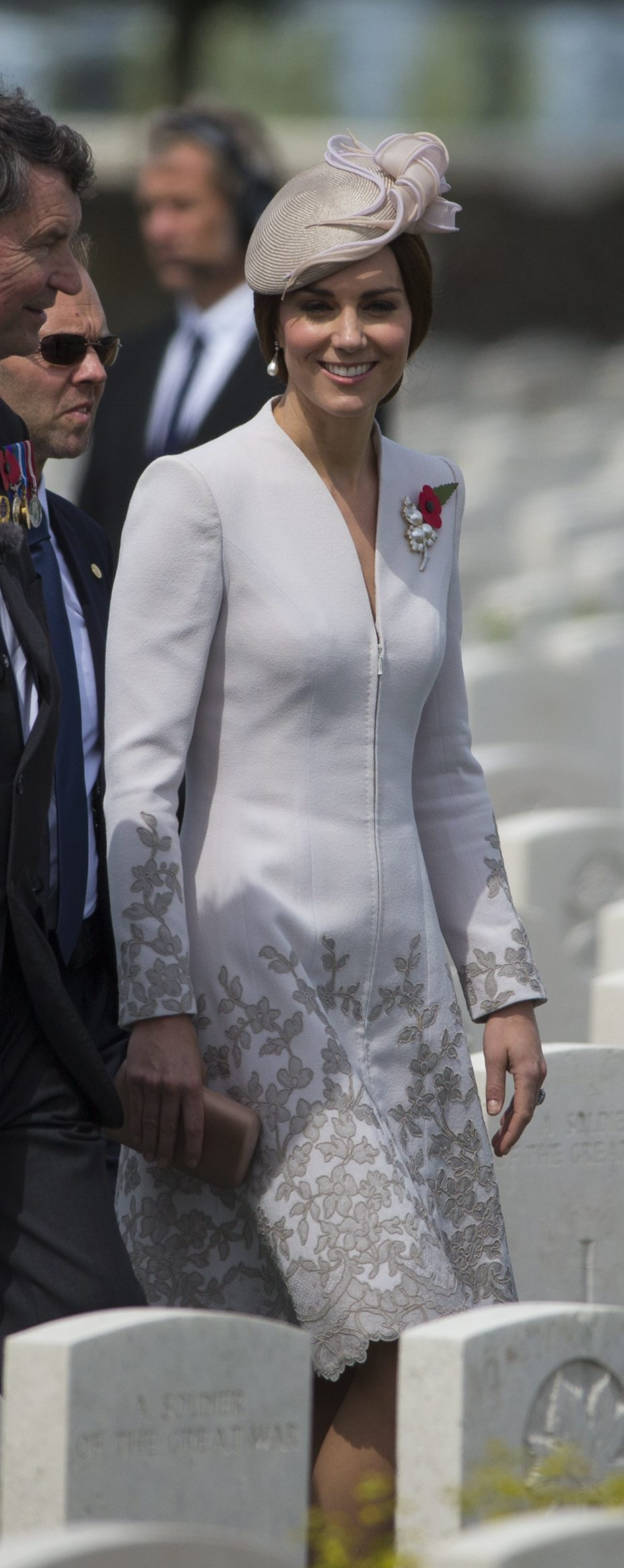 Duchess Kate wore a butterfly embroidered coat in Belgium Ministry of Defence)