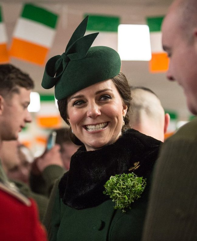 The Duchess of Cambridge wore a green felt hat from Gina Foster for St Patricks Day Army in London)