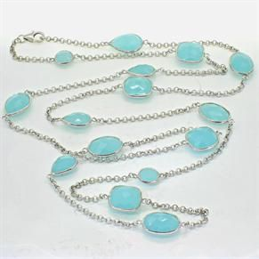 Heavenly Necklaces Aqua Chalcedony and Silver Necklace