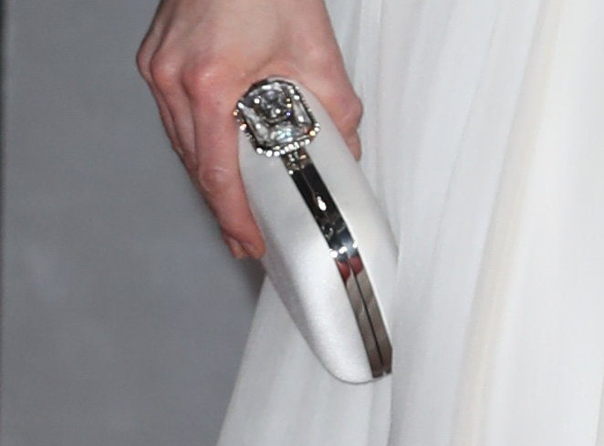 McQueen white satin clutch