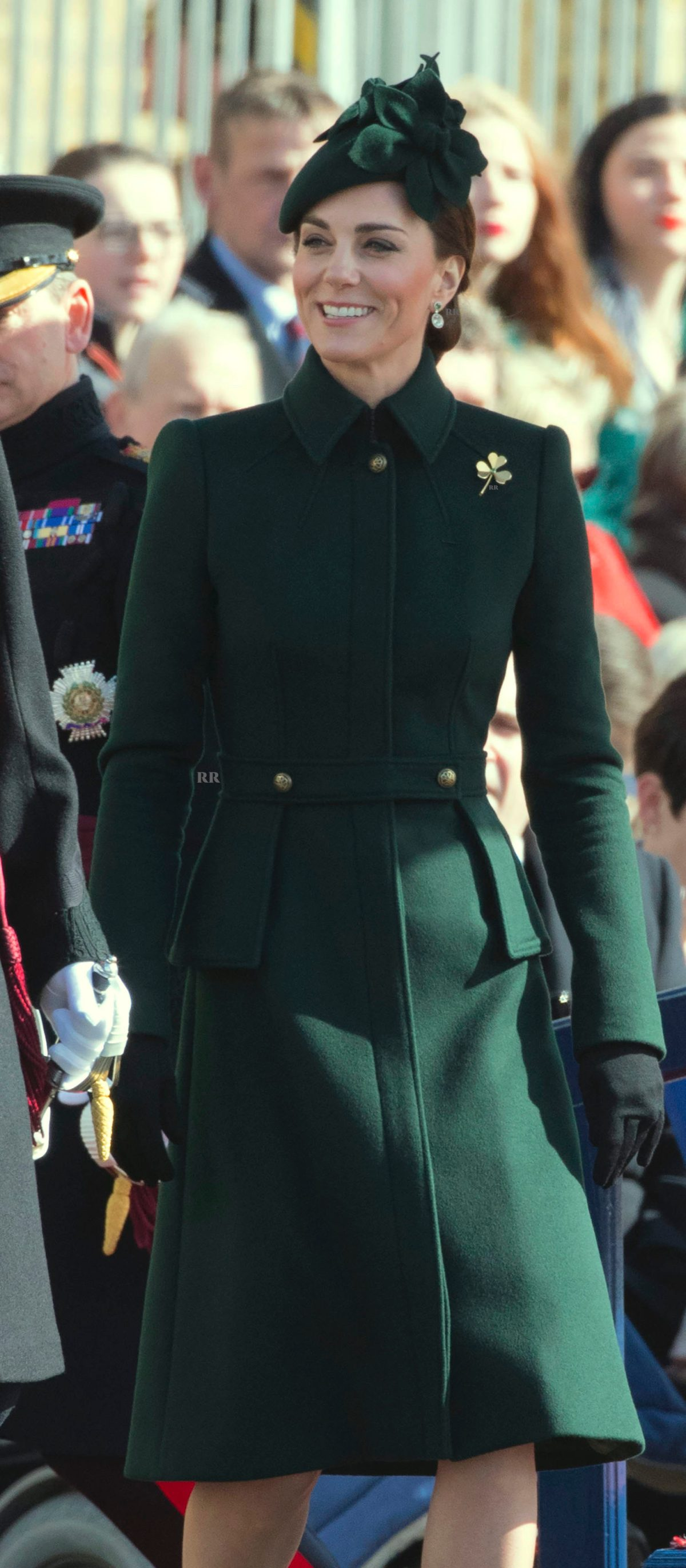 The Duchess of Cambridge arriving for the 1st Battalion Irish Guards St.Patrick's Day Parade in 2019.  Picture by Stephen Lock / i-Images