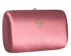 Prada pink satin hard case clutch