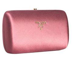 Prada pink satin hard case clutch