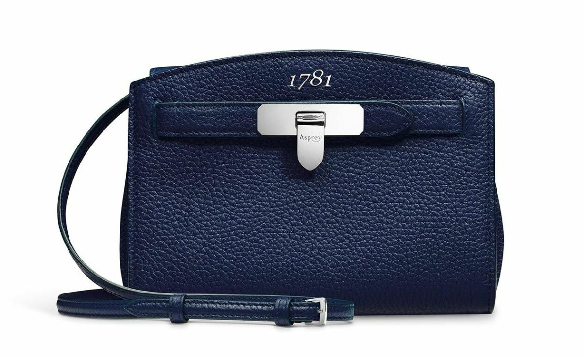 Asprey 1781 pochette clutch in navy