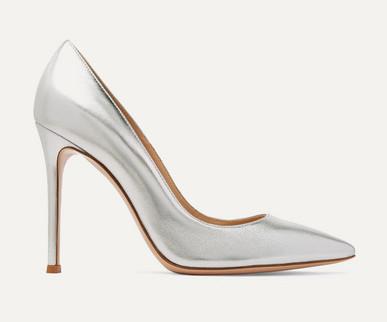 Gianvito Rossi '105' Metallic Leather Silver heels