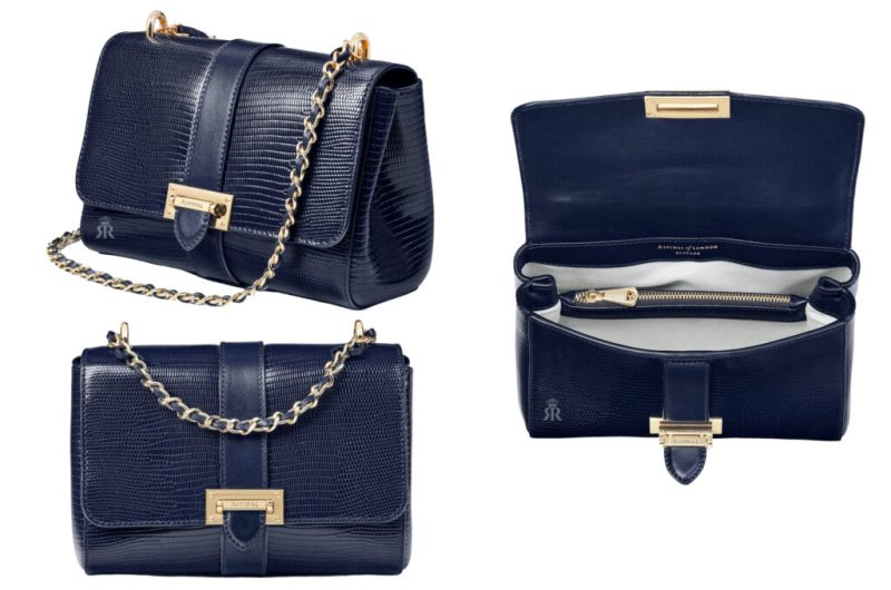 Aspinal 'Lottie' bag in Midnight blue lizard Eugenie