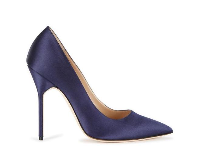Manolo Blahnik BB 115 navy satin heels
