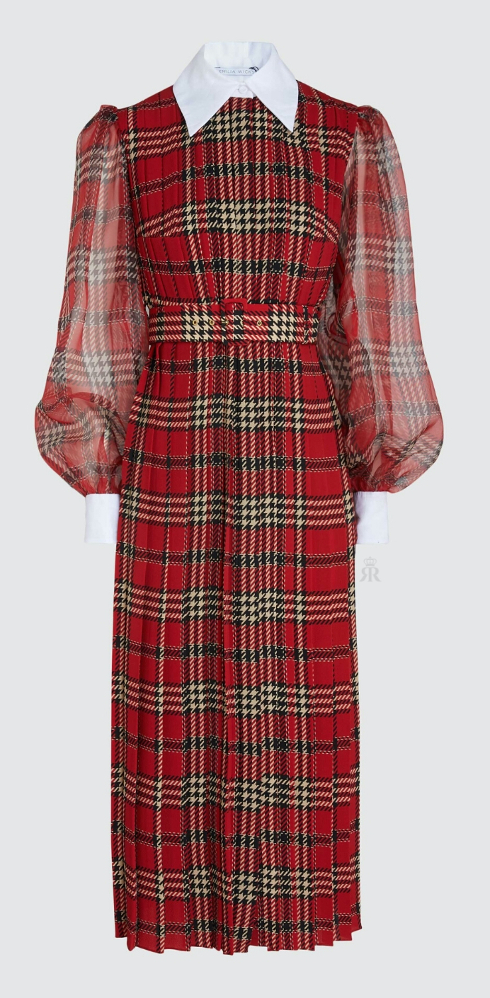 Emilia Wickstead tartan contrast collar dress