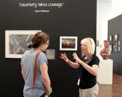 Stacey talking art with museum studio coordinator.