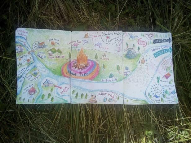 Carte du Rainbow gathering européen de 2017