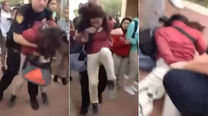 A San Antonio ISD police officer body-slams a 12-year-old girl.