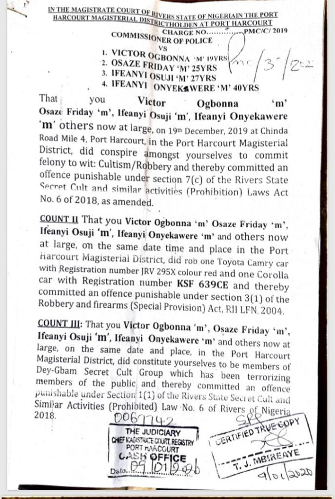 charge sheet 1 Report Afrique