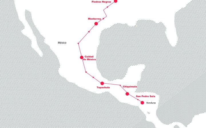 La ruta de Jessica: de San Pedro Sula a Piedras Negras. Ilustración: Dunia Orellana