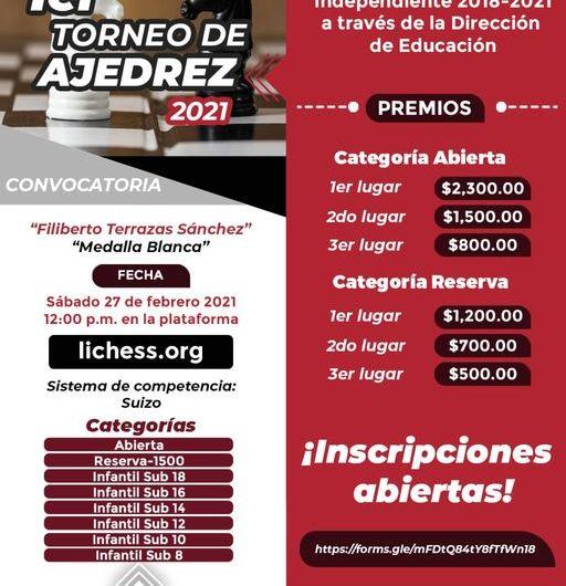 ¡Participa en el primer Torneo de Ajedrez 2021 «Lic. Filiberto Terrazas Sánchez»!
