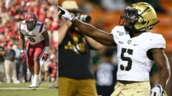 (l-r) South Carolina's DJ Wonnum (Stephenson) and Army's Kell Walker (Lakeside) are two DeKalb standouts on football rosters in 2019. (Photos courtesy of South Carolina and Army Athletics)