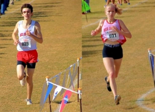Junior Sage Walker (left) and Junior Sophie Shepherd led the Druid Hills' cross country teams to Top 10 finishes in the Class 4A Boys' and Girls' State Cross Country Meets. (Photo by Mark Brock)
