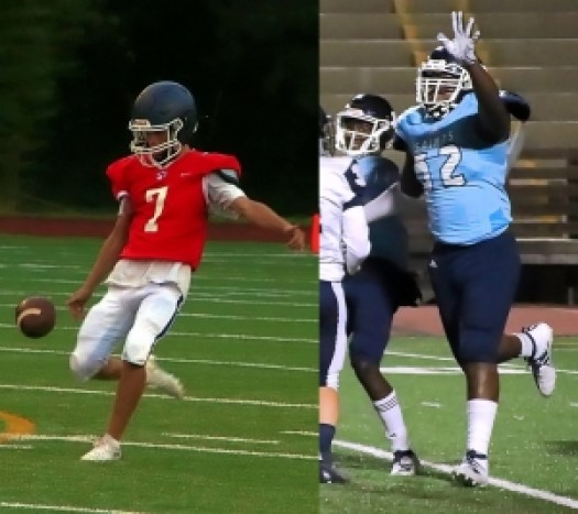 Dunwoody punter Jackson Moore (left) and Cedar Grove defensive lineman Christian Miller (right) were two of five DeKalb players named to two All-State teams. (Photos by Mark Brock)