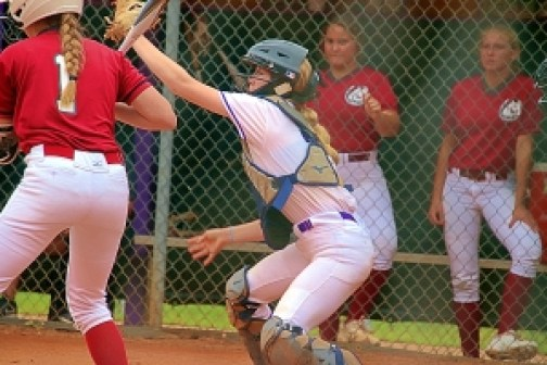 Lakeside catcher Willow Deery pulls down a high pitch during Class 6A state playoff play against South Effingham. Lakeside fell 2-0 in the best-of-three series. (Photo by Mark Brock)