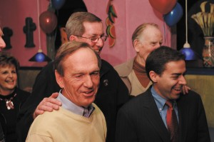 Sen.-elect Fran Millar, left, on election night with Rep. Mike Jacobs, right, and Rep.-elect Tom Taylor, at rear left.