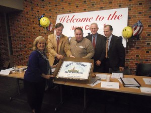 Members of Brookhaven City Council display a birthday cake celebrating the opening of the city. They are, left to right, Councilwoman Rebecca Chase Williams, Councilman Bates Mattison, Mayor J. Max Davis and Councilmen Jim Eyre and Joe Gebbia. The council held a pair of meetings Dec. 16 and 17 to start the city. The Dec. 17 meeting began at 12:01 a.m., the first minute the new city was authorized to do business.