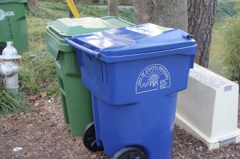 The city of Atlanta is distributing blue recycling bins to increase recycling in the city.