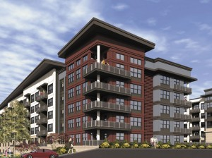 A rendering of apartments Pollack Shores plans to build in Sandy Springs.