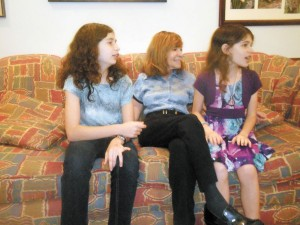 """Maxine Rock, center, with her grandchildren and co-authors, Rachel Schiffer, 12, at left, and Julia,  9. The three collaborated on a book titled """"Adventures in Faun Forest."""""""