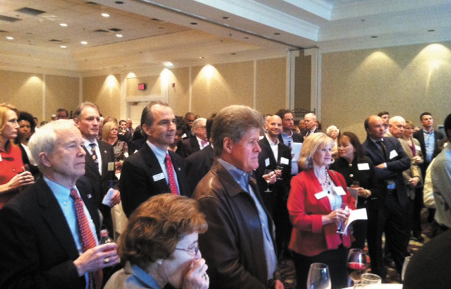 The crowd gathered at the Brookhaven Chamber of Commerce listened as presentations were to honor local officials and volunteers.