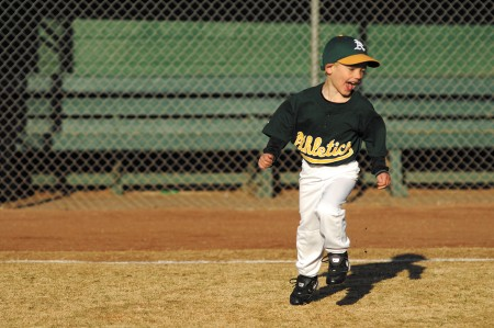Brooks Bowling runs the bases during an opening day game March 16 for the Athletics of the Buckhead Baseball league at Frankie Allen Park in Buckhead.