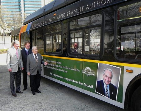 Source: Buckhead Coalition. Pictured left to right, 2011-12 Buckhead Coalition Chairman Sonny Morris, 2013-14 Chairman Dave Fitzgerald, and President Sam Massell inspecting MARTA Coalition Silver Anniversary signage