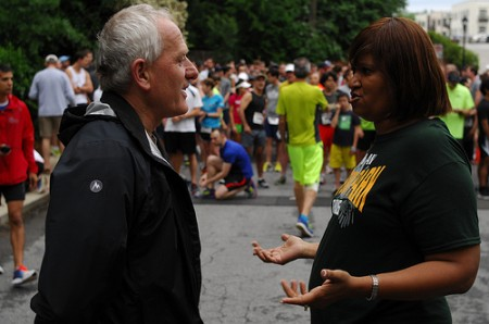 Brookhaven City Councilman Jim Eyre, left, chats with Ashford Park Elementary School  Principal Dr. LaShawn McMillan before the start of the Brookhaven Bolt May 18. The race, now in its sixth year, is a fundraiser for the school.