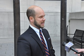 Christopher Mills' attorney Christopher Porterfield Speaks to reporters after a May 29 court hearing.